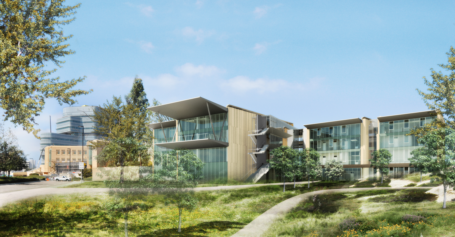 Rendering of the Outpatient Pavilion for UC San Diego Health Services.