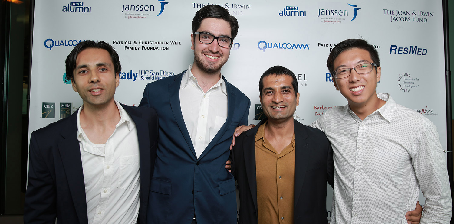 From left: Kenan Azam, Thomas Dadourian, Rajesh Grover and Victor Shiu at the premiere of Risking Aspirations on Oct. 29, 2014 at the Rady School of Management at UC San Diego.