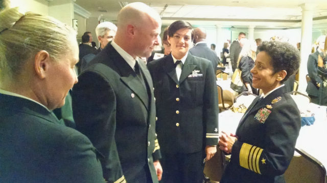 Adm. Michelle Howard (right) speaks with Navy personnel after the SDMAC awards ceremony. (Photo by Chris Jennewein)