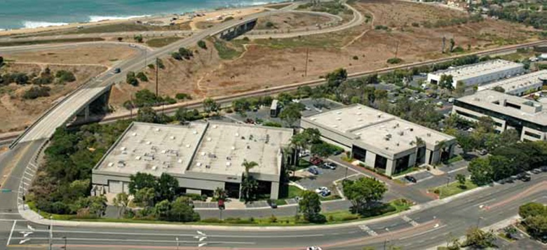 Aerial view of the two Carlsbad buildings purchased by Lincoln Property Company.