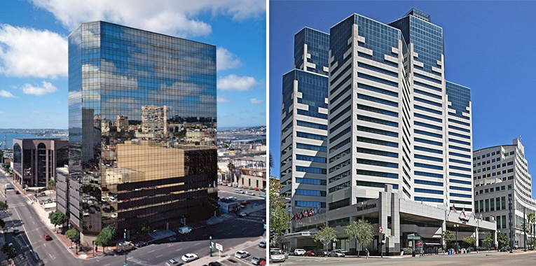 610 West Ash (left) is back on the market, and the iconic Emerald Plaza (right) soon might be.
