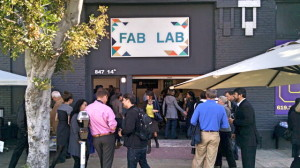 Crowds at the entrance to Fab Lab San Diego on 14th Street in the East Village. (Photo by Chris Jennewein)