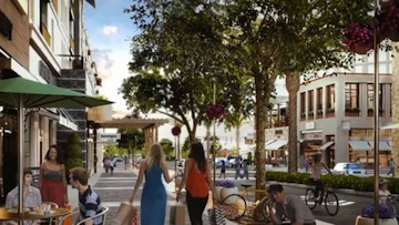 A rendering of the One Paseo project's main street.