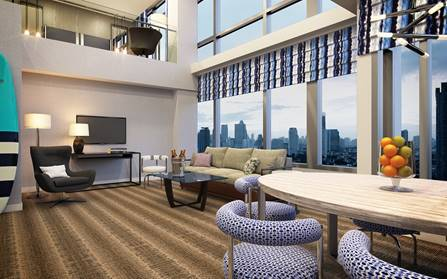 Rendering of a new room at the hotel.