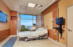 Patient rooms feature a subdued color palette, which is proven to boost the healing process. They are also equipped with LCD televisions that can display clinical images, and pullout couches so family members can comfortably stay overnight.
