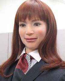 A close-up of an actroid robot, modeled after a young Japanese woman. (Japan National Tourism Organization)