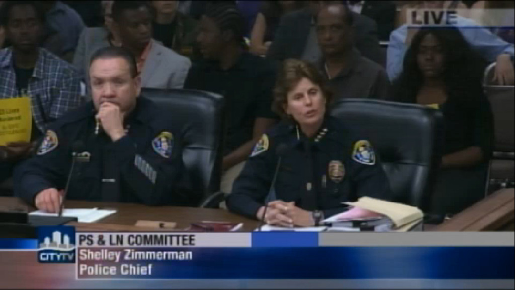 San Diego Police Chief Shelly Zimmerman at the Public Safety and Liveable Communities Committee Meeting. (Photo courtesy of CityTV)