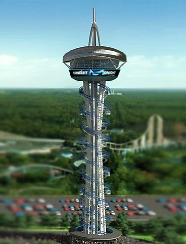 'SkySpire San Diego' would be a 250-foot-tall cylinder-shaped tower, topped with a restaurant that offers 360-degree views of San Diego Bay. Passengers would be lifted to the top in enclosed gondolas that spiral to and from the observation deck.