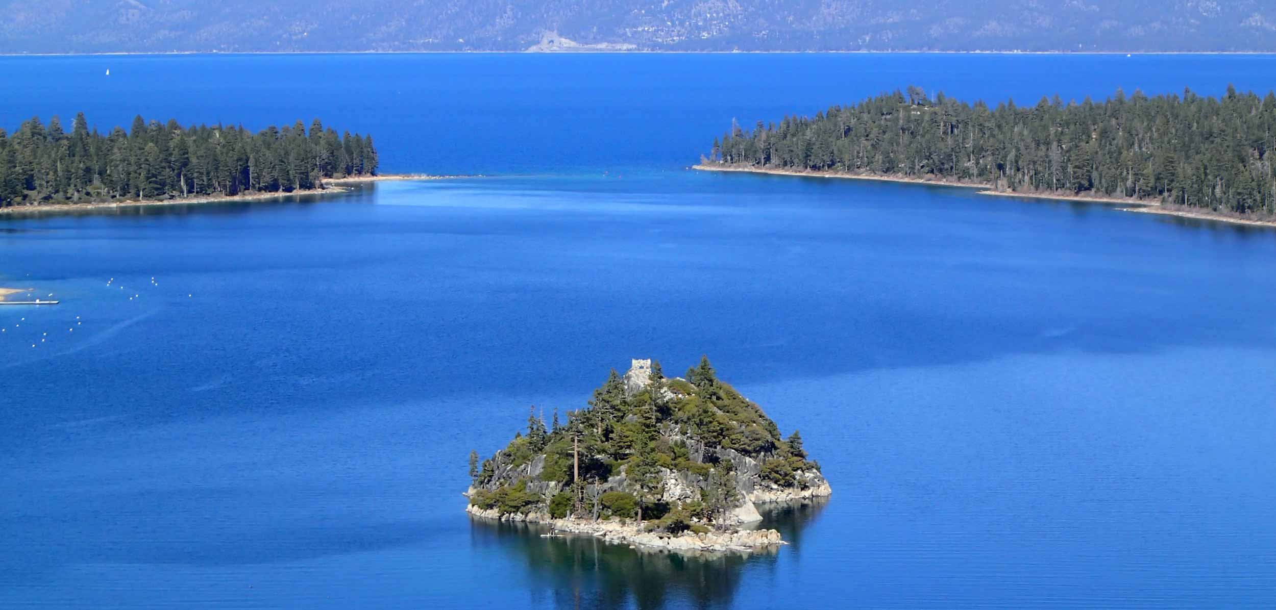 A view of Lake Tahoe's Emerald Bay and iconic blue water. (Brant Allen/UC Davis, Tahoe Environmental Research Center)