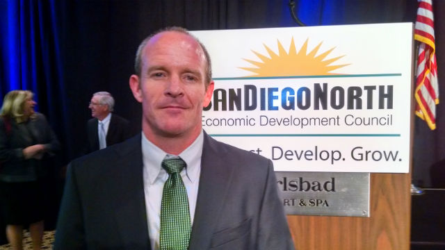 Josh Williams at the San Diego North Economic Development Council's economic summit. (Photo by Chris Jennewein)