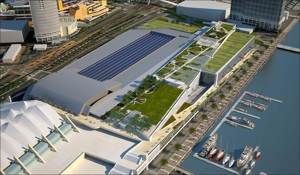 An outdated rendering of proposed expansion of the convention center.