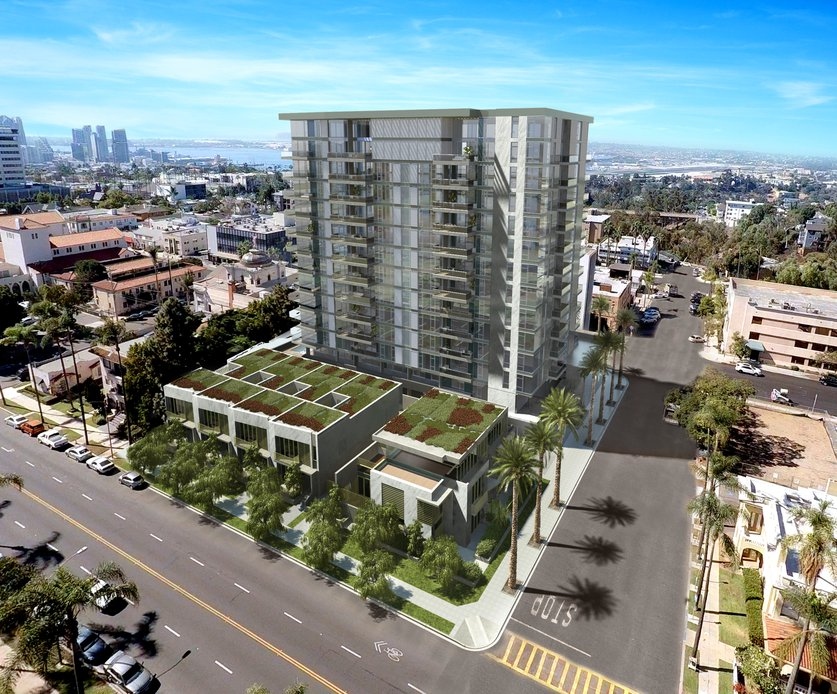 The Park, being developed by Zephyr Partners, will include 63 condos in a 13-story tower and groundfloor townhomes at Sixth Avenue and Palm Street, overlooking Balboa Park.