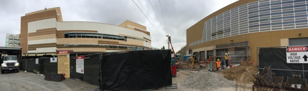 Construction of the Heart and Vascular Center, left, and the Central Energy Plant, right, at Grossmont Hospital.
