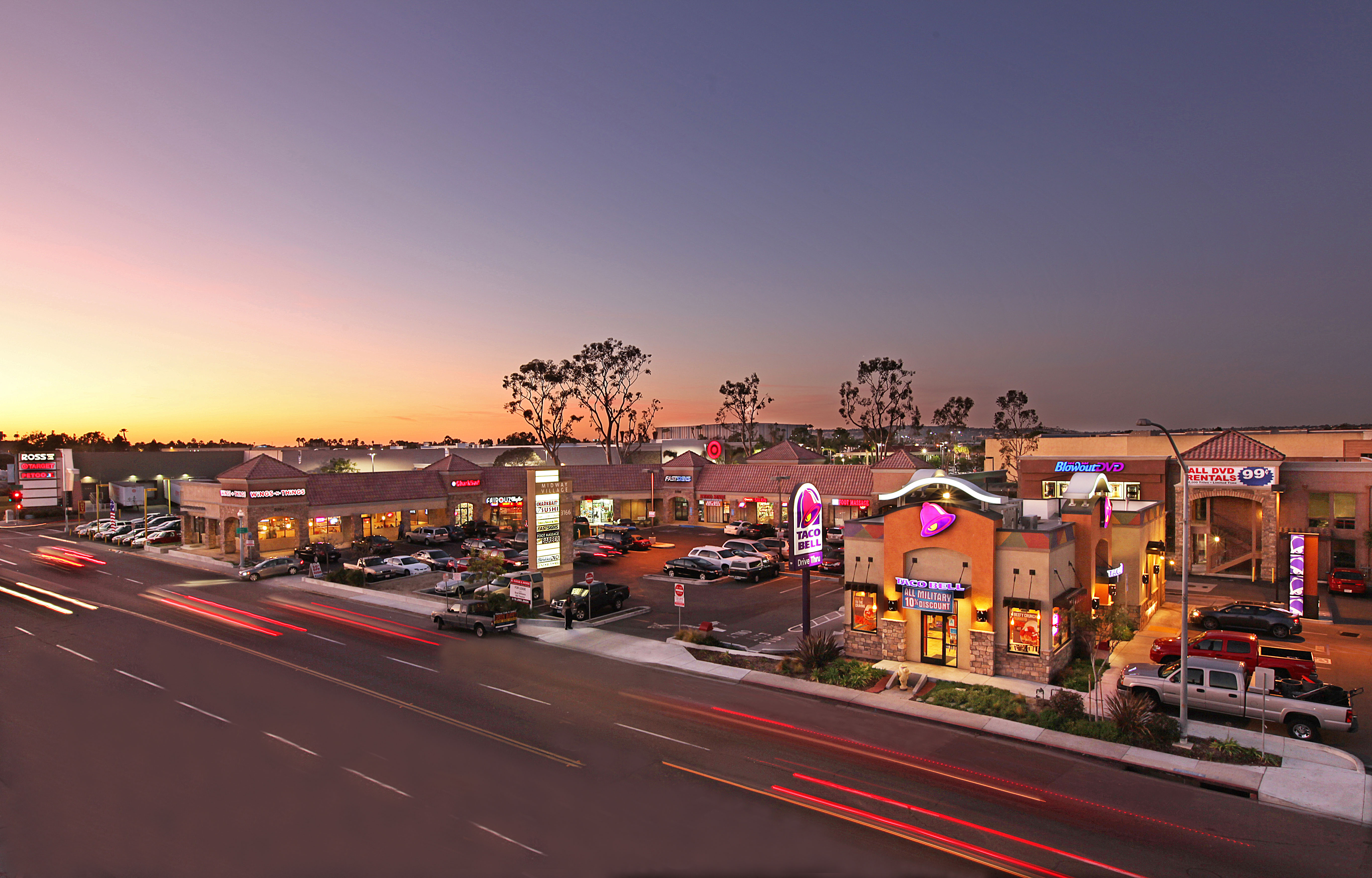 The shopping center has a total of 29,718 square feet in the heart of the Midway District trade area