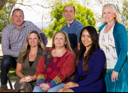 MiraCosta College Public Information Office staff, (top row, from left): Alex Karvounis, Gabe Waite and Susan Walker; (bottom row, from left): Cheryl Broom, Lorie Nolte and France Magtira