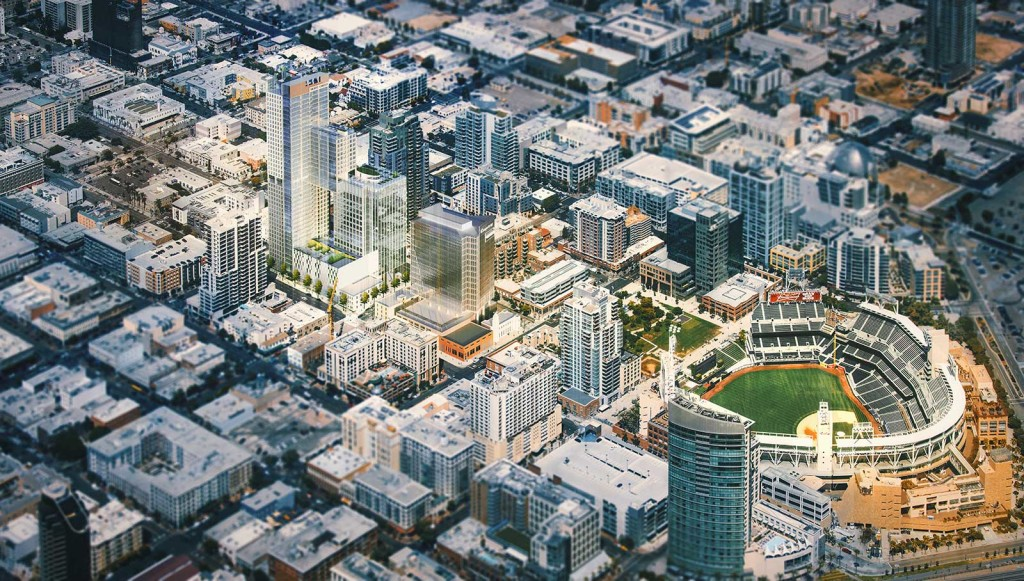 Aerial view shows where the Cisterra development would fit Downtown.