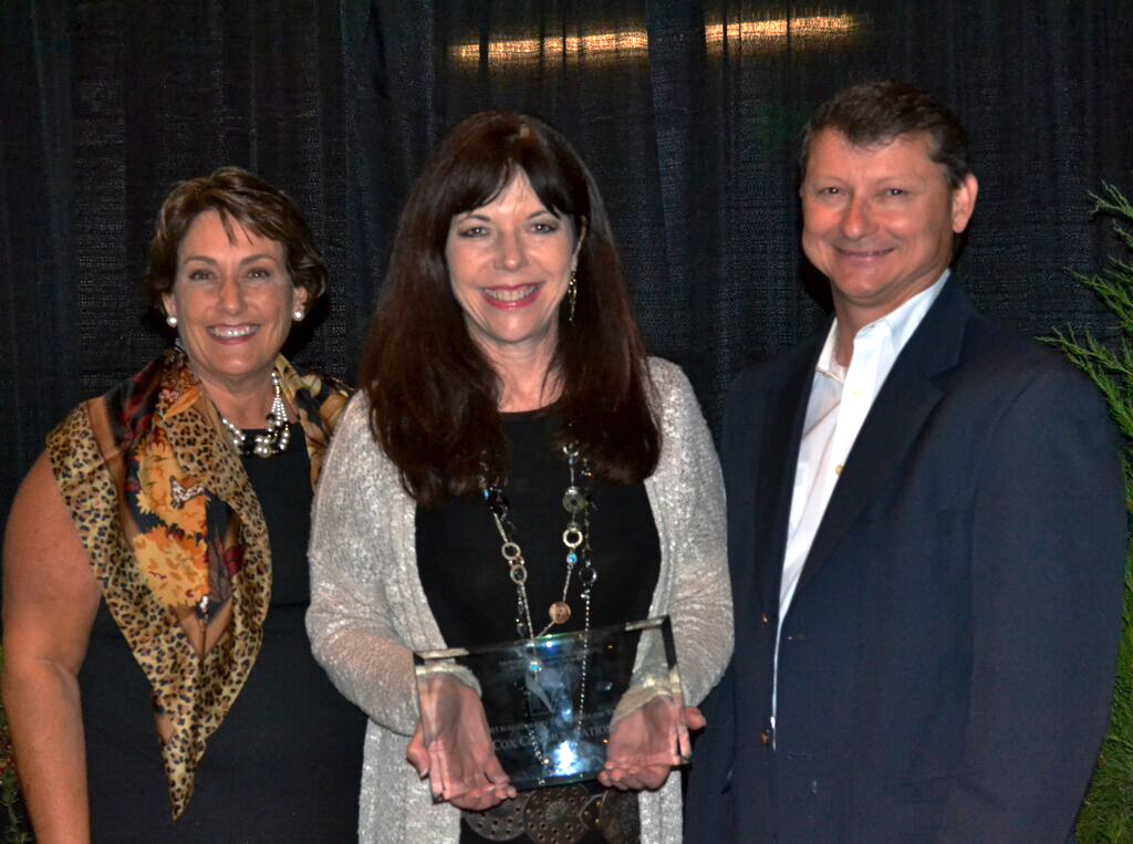 Pictured at the North San Diego Business Chamber awards, from left, Debra Rosen, chamber president/CEO; Cami Mattson of Cox Communications, an award winner; and Charle Piscitello of Petco, a chamber board member.