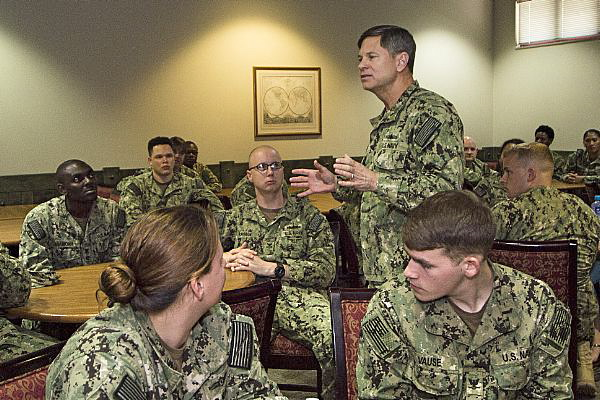 Rear Adm. James Loeblein, deputy commander of U.S. Naval Forces Central Command, U.S. 5th Fleet, speaks to sailors during a Right Hand Sailor luncheon at Naval Support Activity Bahrain in July 2014. (U.S. Navy photo)