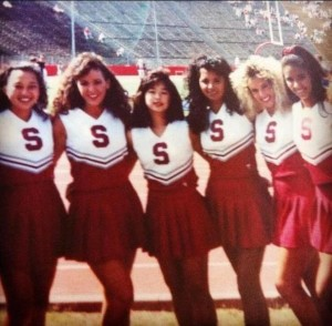 Assemblywoman Lorena Gonzalez, D-San Diego, second from left, in her days as a Stanford cheerleader