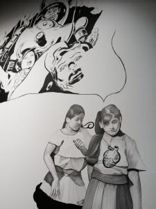 Hugo Crosthwaite mural in progress.