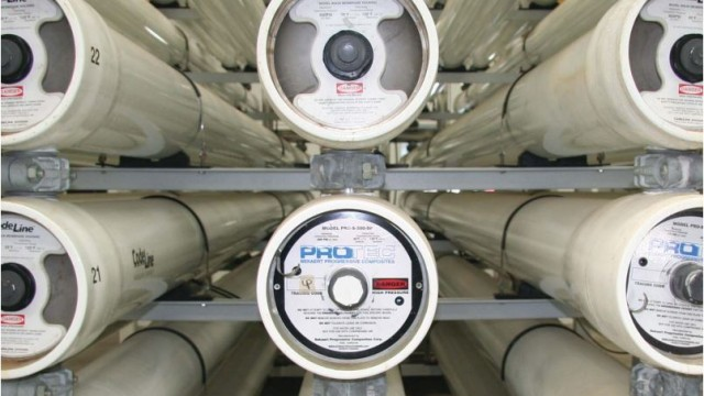 Reverse osmosis units at the Richard A. Reynolds Desalination Facility. (Courtesy Sweetwater Authority)