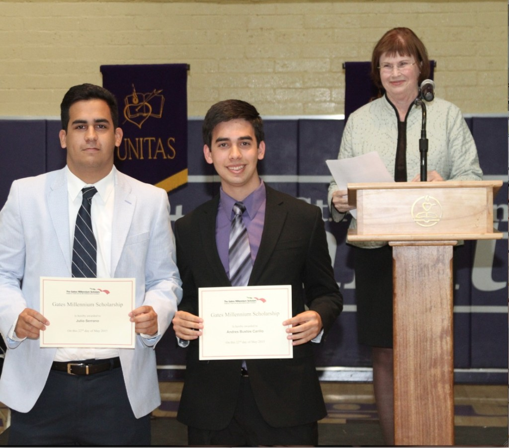 Graduating St. Agustine High seniors Julio Serrano (left) and Andres Bustos were recently presented Gates Foundation Scholarships that fund their college studies through graduate studies. The top awards were presented by St. Augustine High School College Counselor Nancy Caine.