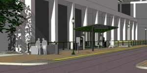 Rendering of Civic Center Trolley Station, prototype for new Courthouse Station