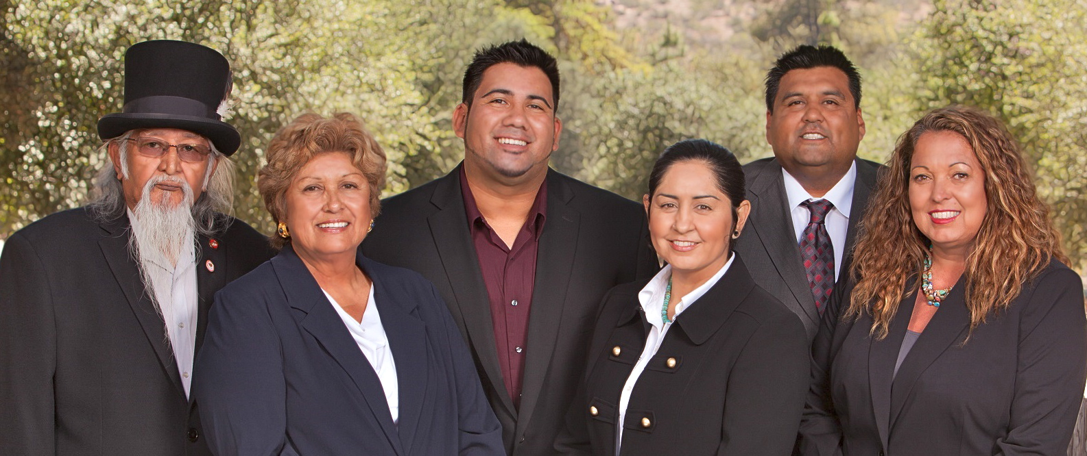 Tribal Council members, from left, Vice Chairman Kenny Meza, council member Carlene Chamberlain, council member Michael Hunter, Chairwoman Erica Pinto, councilmember Christopher Pinto, secretary and treasurer Lisa Cumper.
