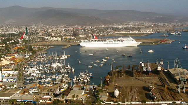 A cruise ship in the port of Ensenada. Photo by Cesar Bojorquez