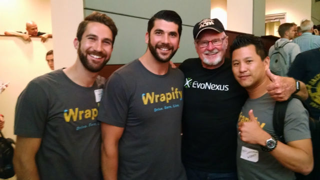EvoNexus CEO Rory Moor (second from right) with the Wrapify team. (Photo by Chris Jennewein)