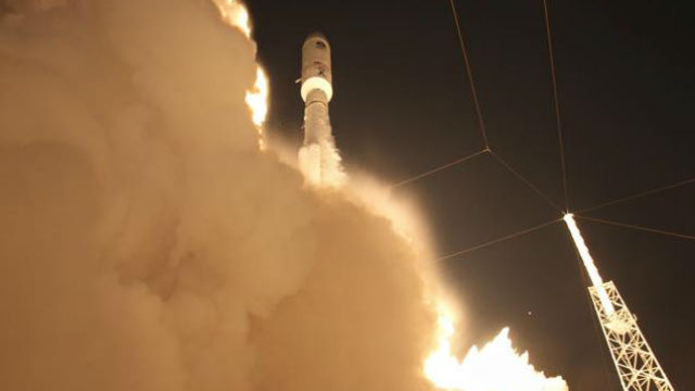 The MUOS-4 satellite lifts off from Cape Canaveral on an Atlas 5 rocket. Courtesy United Launch Alliance