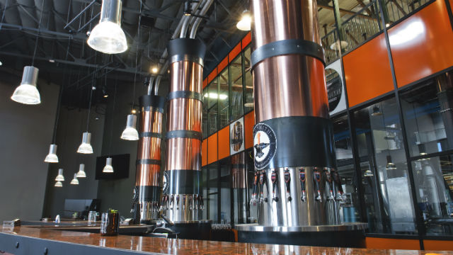 A view of the tap towers in the new AleSmith tasting room.