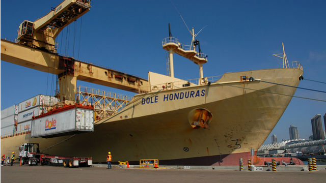 A container of fresh fruit is unloaded from a ship at the 10th Avenue Marine Terminal. Courtesy Port of San Diego