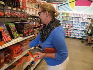 Margot Howard on the Halloween aisle