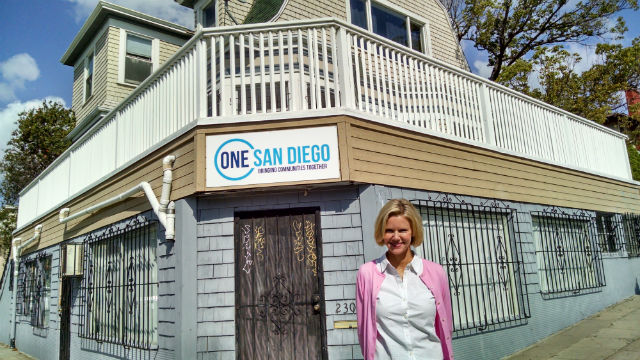 Katherine Faulconer in front of One San Diego's office in Golden Hill. (Photo by Chris Jennewein)