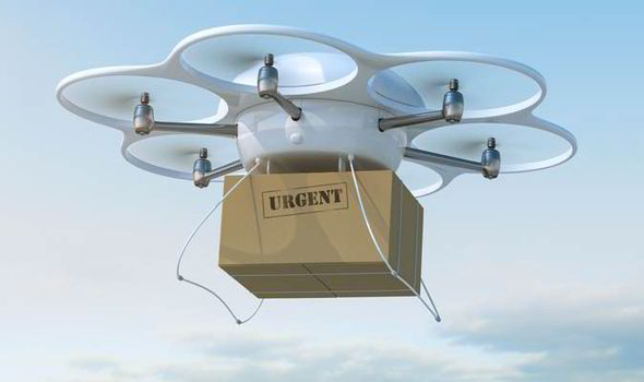 Drone carrying a parcel