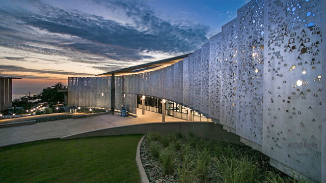 A view of the new science complex at dusk. Courtesy Point Loma Nazarene University
