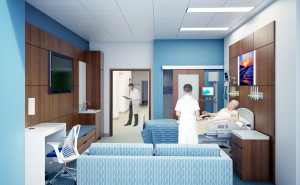 Rendering of patient room