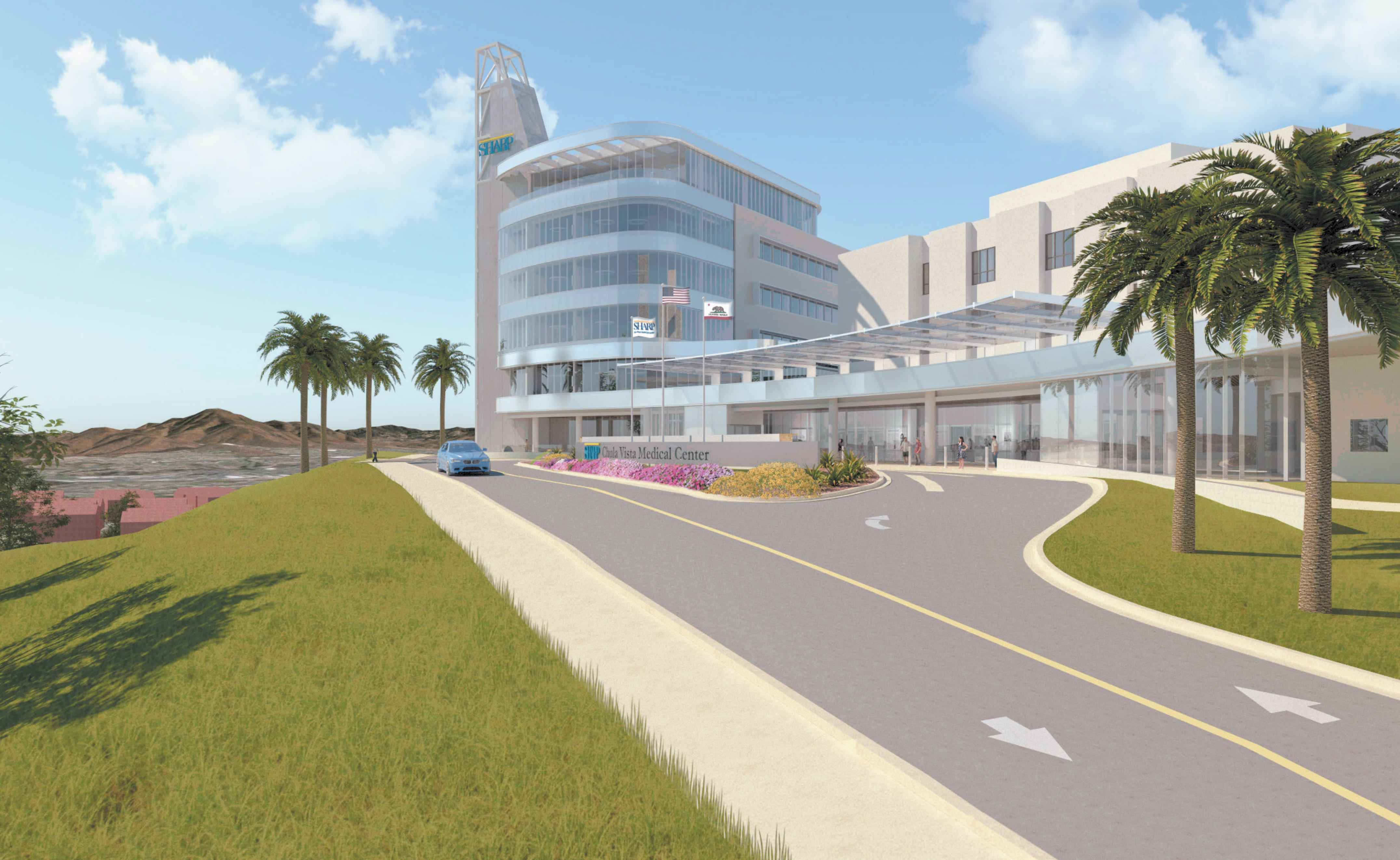 Rendering of new hospital to be built by Sharp Chula Vista Medical Center.