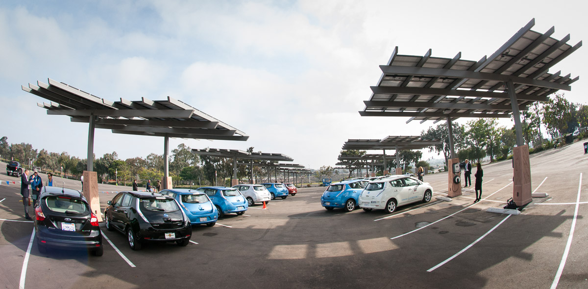 Solar energy canopies in the parking lot of the San Diego Zoo.