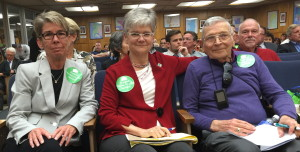 Attending the City Council meeting, from left, are: Delores Jacobs, CEO of San Diego LGBT Community Center, Sue Reynolds, president and CEO of Community HousingWorks, and LGBT senior Robert Bettinger at Tuesday's City Council meeting.