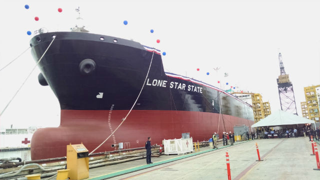 The Lone Star State floats at the shipyard just before her christening. (Photo by Chris Jennewein)