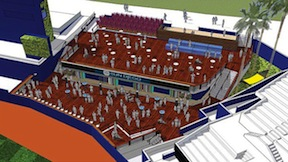 A rendering of the new social space at Petco Park.