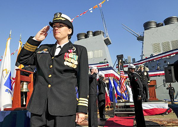 YOKOSUKA, Japan (Nov. 30, 2015) Cmdr. Michele M. Day departs a change of command ceremony after turning over command of the Arleigh Burke-class guided missile destroyer USS Benfold (DDG 65) to Cmdr. Justin L. Harts. Day served as the ship's commanding officer since March 14, 2014. (U.S. Navy photo by Mass Communication Specialist 1st Class Greg Johnson/Released)