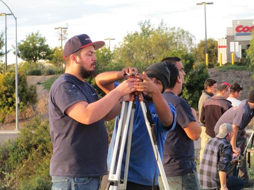 San Diego City College apprenticeship students work on land surveying equipment at the Associated Builders and Contracts training facility in Poway. (Community College District photo)