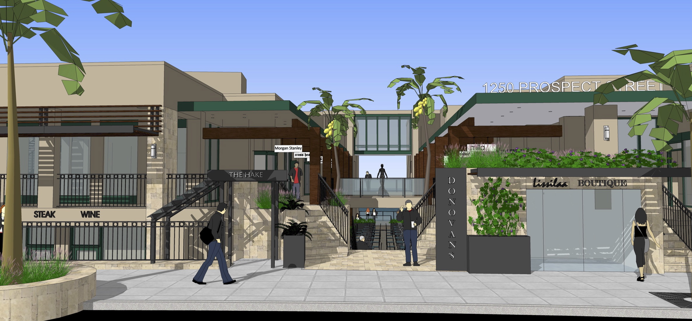 Rendering of the La Jolla retail building after renovation.