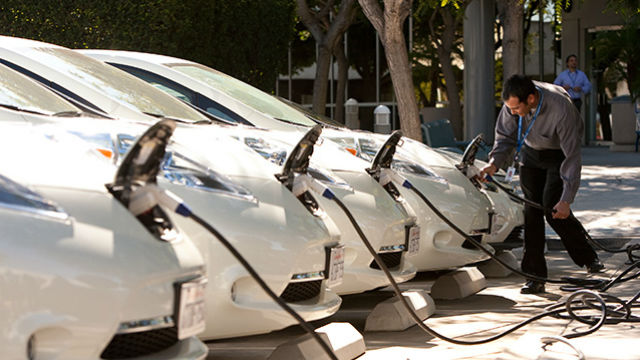Electric vehicles being charged. (Photo courtesy SDG&E)