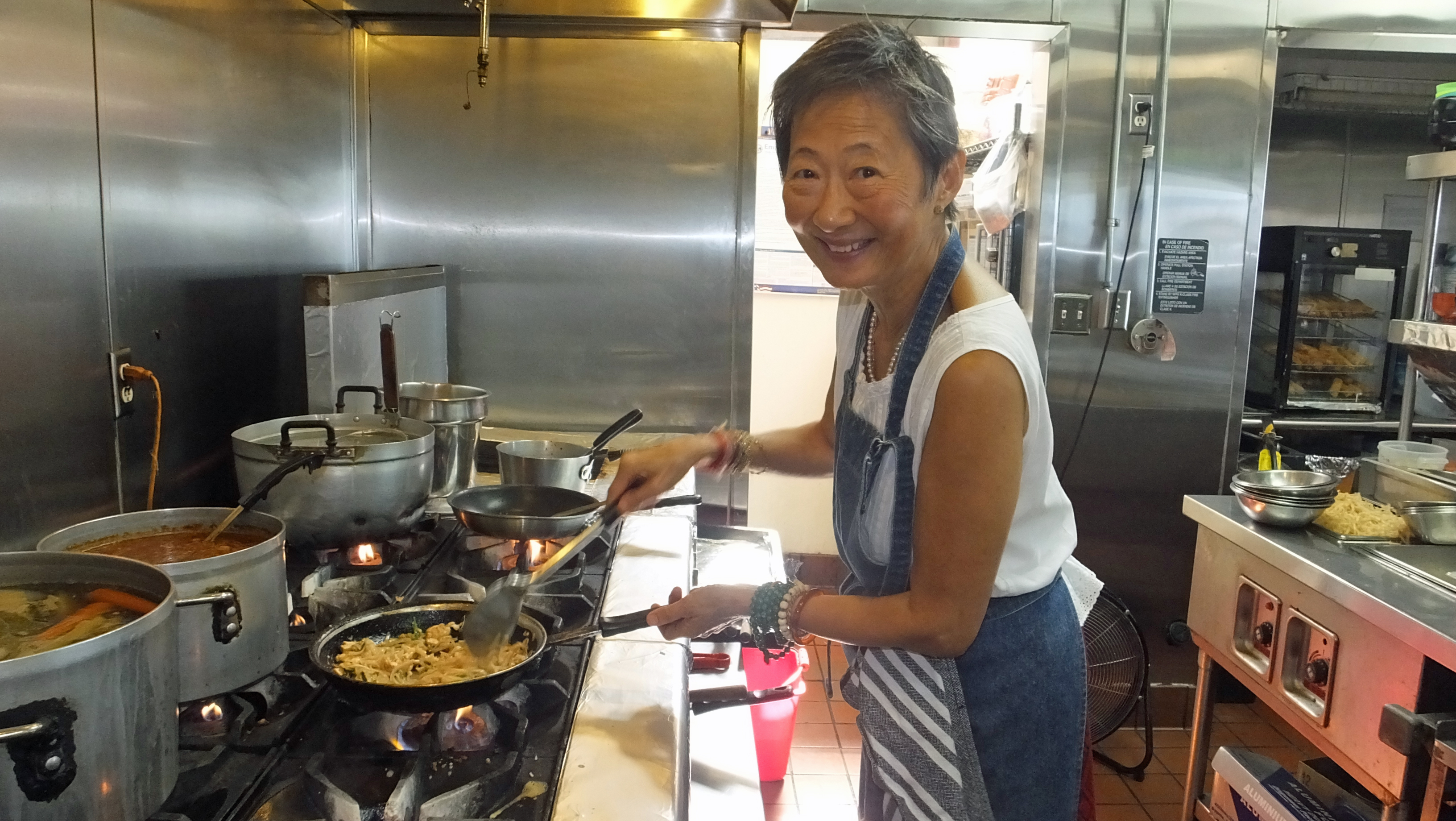 Su-Mei Yu in the Saffron kitchen