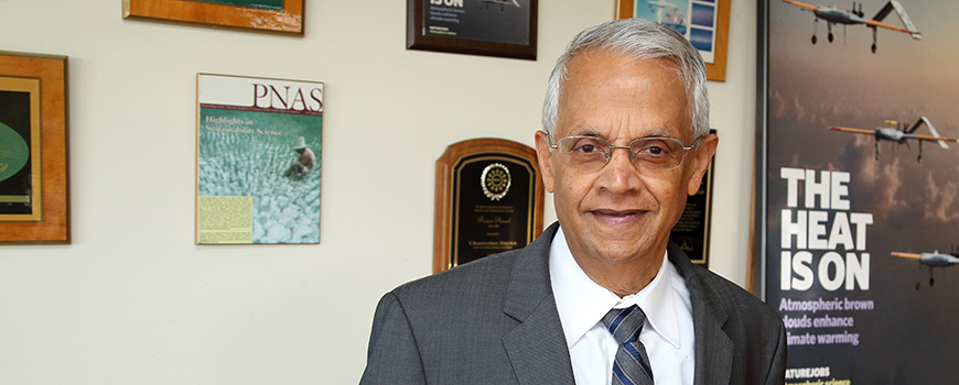 Veerabhadran Ramanathan, professor of climate and atmospheric sciences. (Photo: Glenn Marzano)