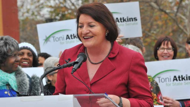 Assembly Speaker Toni Atkins with supporters at a rally. (Photo: Chris Stone)